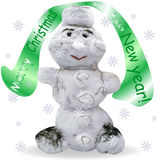 Illustration of snowman with signboard Royalty Free Stock Photos