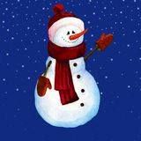 Illustration of a snowman watercolor Stock Image