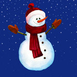 Illustration of a snowman watercolor. Snowman in hat and scar. Stock Image