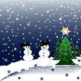 illustration of Snowmen on Christmas Background Royalty Free Stock Photos