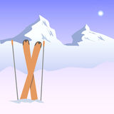 Illustration of snowy mountains and skis Stock Photography