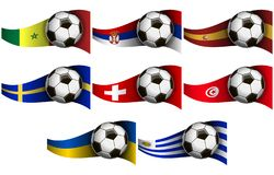 Illustration with soccer ball and flags royalty free illustration