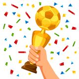 Illustration of soccer cup in hand on confetti background Royalty Free Stock Photography