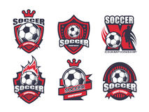 Illustration of soccer logo set Stock Photos