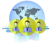 Illustration of social media heads with international business background  Royalty Free Stock Photo