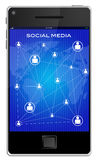 Illustration of social media  mobile phones Stock Photo