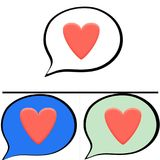 Voice balloons. Illustration of social media voice bubbles.with colourful heart vector illustration
