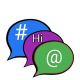 Voice balloons. Illustration of social media voice bubbles.with famous textures vector illustration