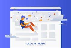 Illustration sociale de gradient de vecteur de concept de page Web de médias de jeune homme se reposant dans la page illustration libre de droits