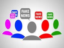 Illustration sociale des bulles 3d de media de fausses actualités Photo stock