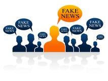 Illustration sociale des hommes 3d de media de fausses actualités Photos libres de droits