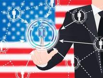 Illustration sociale du bouton 3d de media de drapeau américain Photo stock