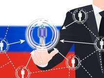 Illustration sociale du bouton 3d de media de drapeau russe Photo stock