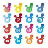 Illustration sociale moderne de vecteur d'icône de médias illustration libre de droits