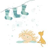 Illustration of socks & child, christmas card Royalty Free Stock Photos