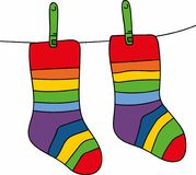 Illustration socks on a rope with clothespins. Striped socks isolated on white background Stock Photography