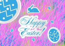 Illustration of soft colored abstract background Happy Easter. Easter Bunny Earsand eggs Royalty Free Stock Photos