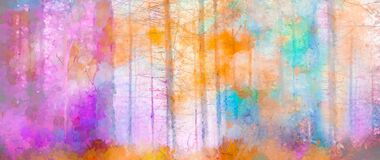 Illustration soft colorful autumn forest. Abstract fall season, yellow and red leaf on tree, outdoor landscape.