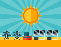 Illustration of solar energy power plant in flat Stock Photo