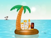 Solar lotion in the Inflatable palm Stock Photo