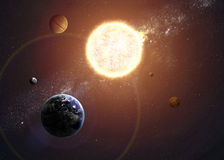 Illustration of solar system showing planets. Around sun. Elements of this image furnished by NASA Stock Photos
