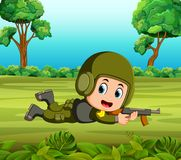 Soldier in action. Illustration of Soldier in action Royalty Free Stock Images