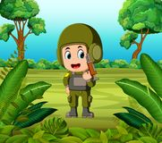 A soldier carrying a gun at the jungle. Illustration of a soldier carrying a gun at the jungle Royalty Free Stock Image