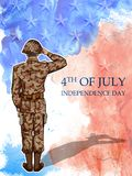 Soldier saluting on Fourth of July background for Happy Independence Day of America. Illustration of Soldier saluting on Fourth of July background for Happy Royalty Free Stock Photos