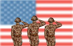 Soldier saluting on Fourth of July background for Happy Independence Day of America. Illustration of Soldier saluting on Fourth of July background for Happy Royalty Free Stock Photography