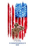 Soldier saluting on Fourth of July background for Happy Independence Day of America. Illustration of Soldier saluting on Fourth of July background for Happy Stock Images