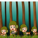 Soldiers in the battlefield. Illustration of Soldiers in the battlefield Royalty Free Stock Photos