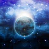 Illustration - soluppgång över planeten royaltyfri illustrationer