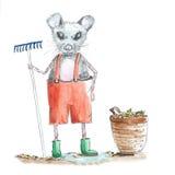 Illustration som arbeta i trädgården musen Arkivfoton