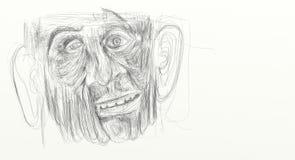 Illustration som göras från den digitala teckningsvisningdetaljen av framsidan av en bedrövad man, bedövat, förbluffat Minimalist Arkivfoton