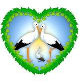 Illustration som visar symbolet av familjen och förälskelsen av storkar Arkivfoto