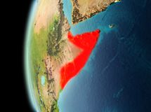 Evening view of Somalia on Earth. Illustration of Somalia as seen from Earth's orbit in late evening. 3D illustration. Elements of this image furnished by NASA stock photos