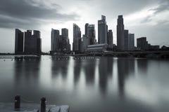 Illustration sombre d'horizontal de Singapour images stock