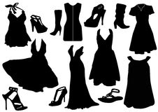 Illustration of some black dresses with shoes Stock Photography