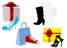 Illustration of some present and handbag with shoe Stock Photography
