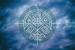 Religious symbols on cloudy sky Stock Photo