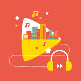 Illustration: the sounds of the big city with headphones Royalty Free Stock Photo