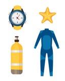 Illustration sous-marine de vecteur d'équipement de scaphandre de costume de plongée illustration de vecteur