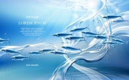 Illustration sous-marine de vecteur du concept 3D du monde illustration de vecteur