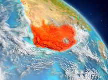 South Africa from orbit. Illustration of South Africa as seen from Earth's orbit. 3D illustration. Elements of this image furnished by NASA royalty free stock photo