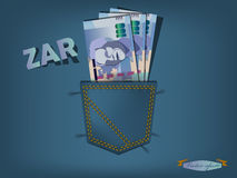 Illustration of south african rand in the pocket of blue jeans Royalty Free Stock Image