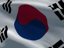 South Korea flag on a fabric basis. Illustration of a South Korea flag on a fabric basis Stock Image