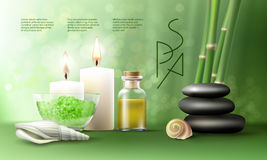 Illustration for spa treatments with aromatic salt , massage oil, candles. Royalty Free Stock Image