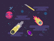 Illustration space background with comets, meteorites, stars, planets, nebulae in a flat style Stock Photography