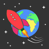 Illustration of space rocket flying around Earth Royalty Free Stock Image
