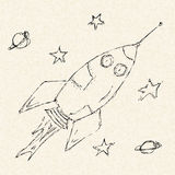 Illustration of a space rocket on lined paper Stock Photos